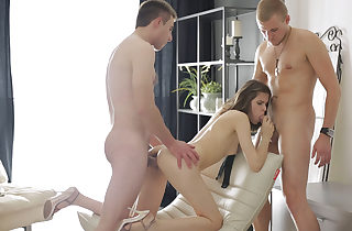 Eyes covered surprise threeway